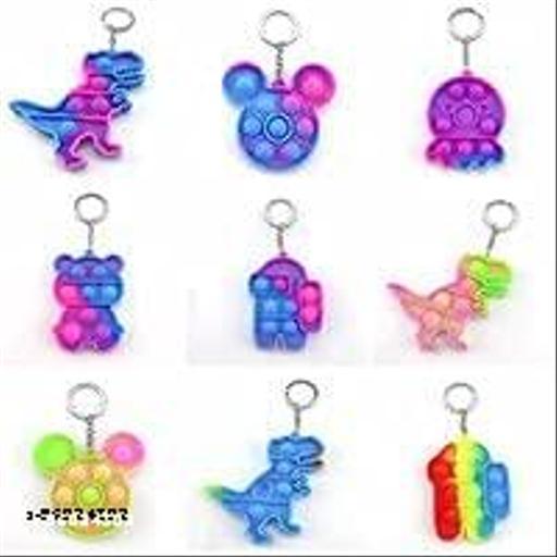 Primetan  Mini Pop Push It Fidget Toy, Simple Mini Push Pop Bubble Fidget Toy Keychains, Silicone Squeeze Sensory Tools to Relieve Emotional Stress for Autism Kids (Random COLOUT & Design) (6 Pcs)