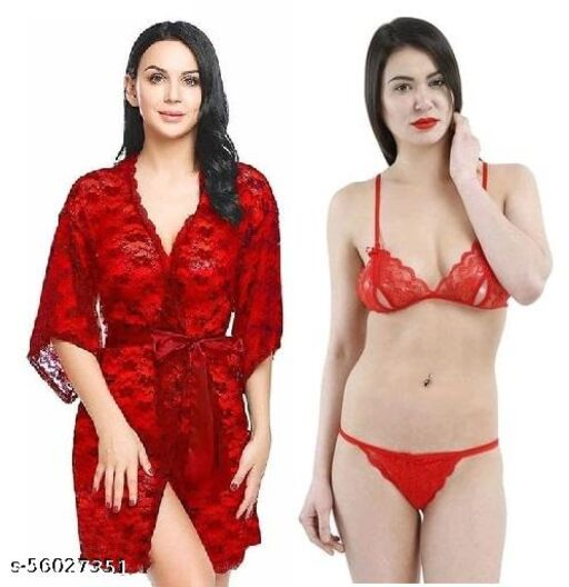 Fancy  Short Night Gown with Bra Panty