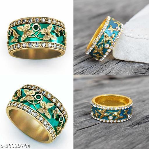 Golden Butterfly Green Colour Finger Ring For Girls & Women