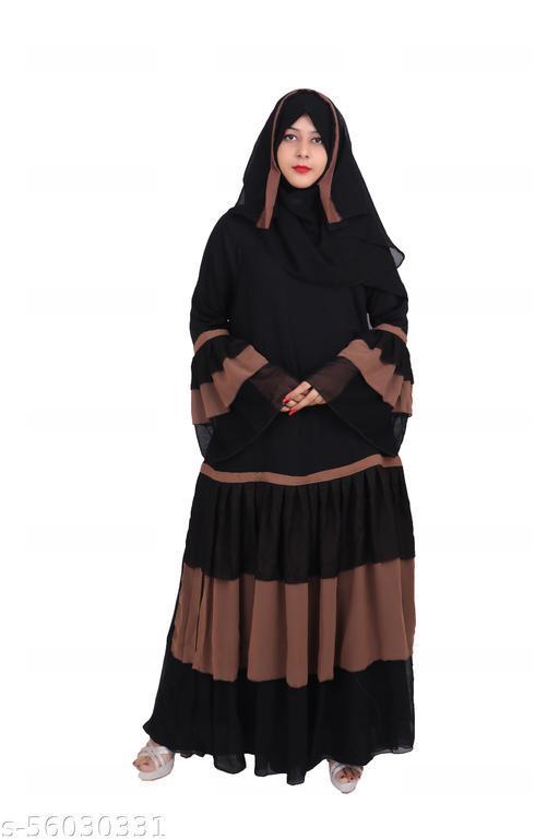 Dubai Collection Women's Nida Frill Umbrella Abaya burka with hijab scarf (Black and Brown, Free Size) Crepe Chevron/Zig Zag Abaya With Hijab  (Brown, Black)