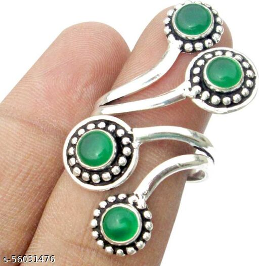 925 Silver Plated Green Onyx Ring in Lucky Shop