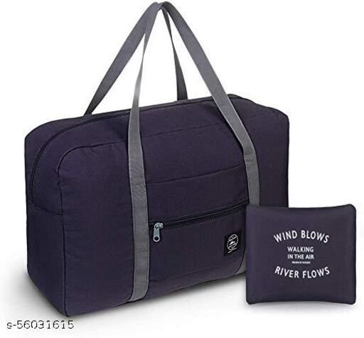 Men's and Women's Nylon Foldable Waterproof Folding Luggage Tote Carry on Travel Duffel Bag (Navy Blue)