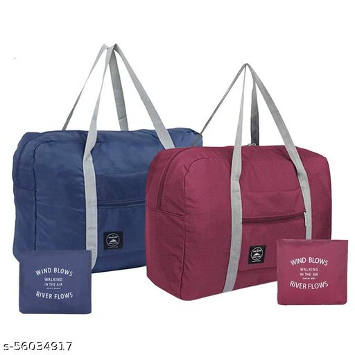 Men's/Women's Foldable Waterproof Nylon Travel Duffel Bag Tote Carry on Luggage (Navy Blue, Wine Red)