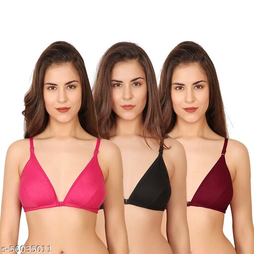 Front Open Cotton Bra Pack of 3