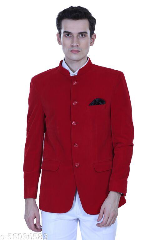 Touch King Bandgala (Jodhpuri Blazer) 5 Button Slim Fit Blazer for Men's Color-Red Available in 6 Size (BLAZER ONLY)
