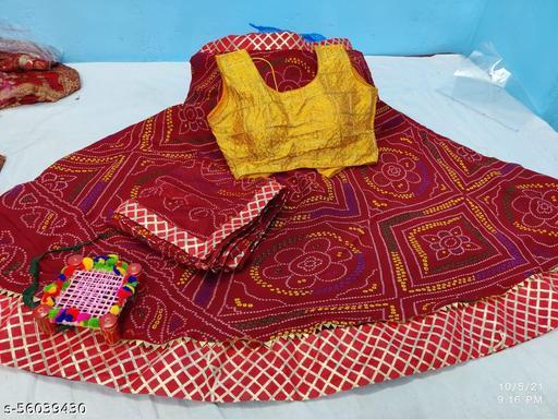 Ashika Fashion Reniyal Georgette Lehenga  with contrast Stitched Brocade  Blouse and Reniyal georgette Dupatta