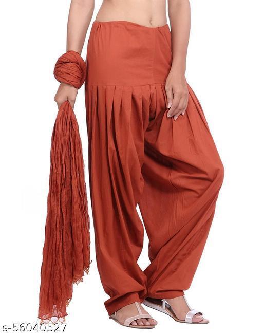 Stylong Women's Cotton Traditional Semi Patiala Salwar with Dupatta Set (Free Size)