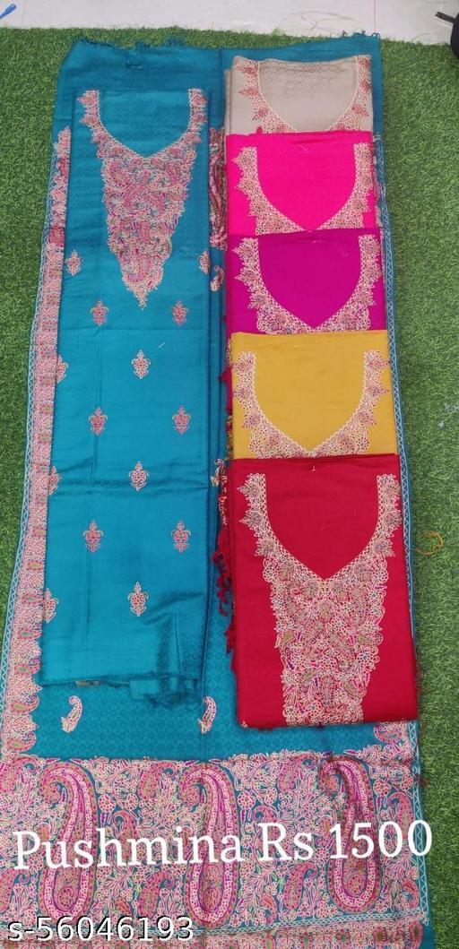Designer Sky Blue Color Pashmina Suit with Florial work stole  4 (PCS )set