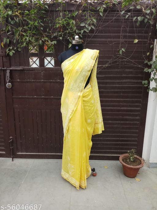 chanderi silk chikankari saree