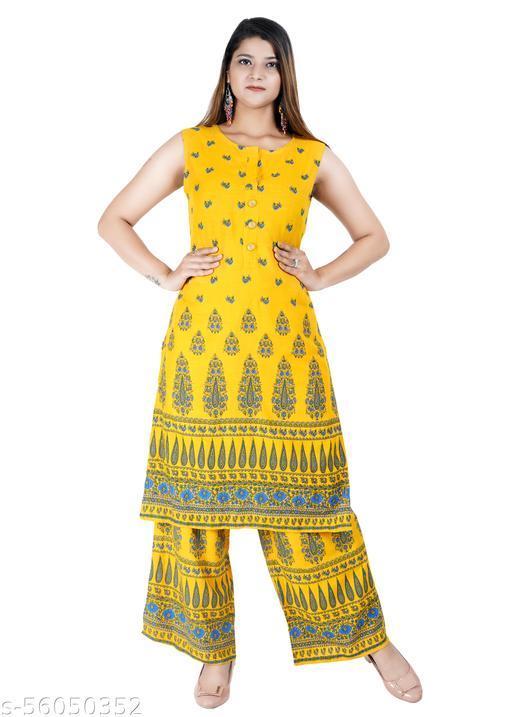 USA Overseas Rayon Embroidered Stitched Printed A Line Yellow Stylish Kurta/Kurti/Set for Regular Use & Party Wedding.