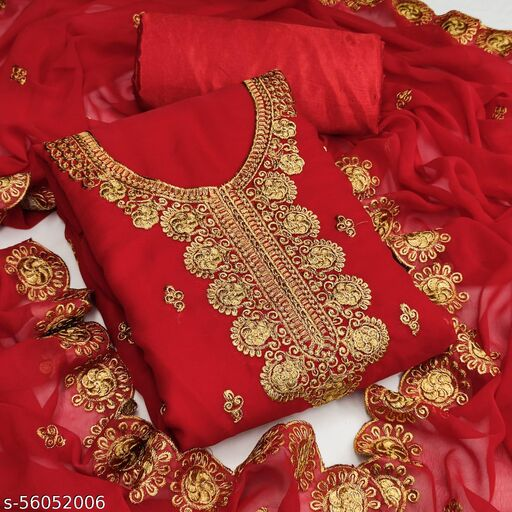 Georgette Embroidered Salwar Suit Material