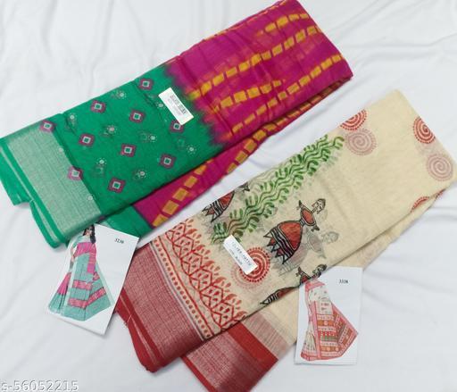 Zareena lenin cotton party wear contrast border saree combo of 2