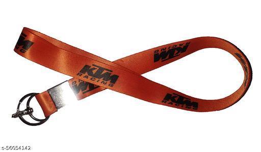 RACE MINDS Fabric Double Sided Keychain and Lock Lanyard With KTM Logo - (Orange)