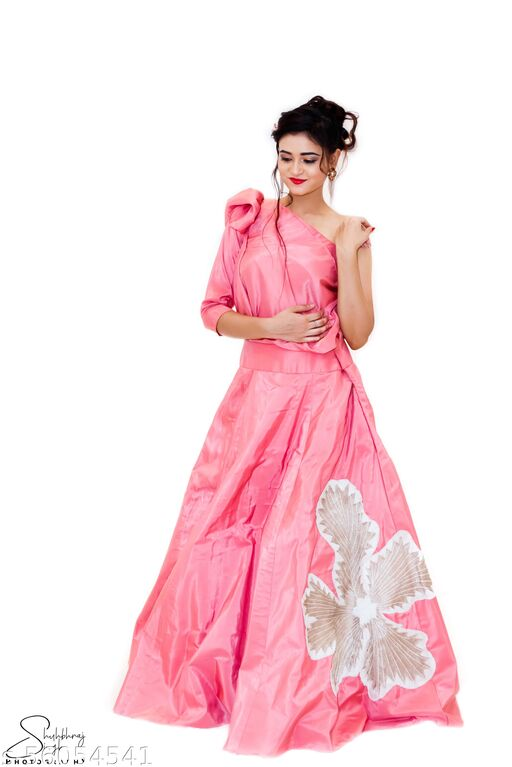 One Sided Pink Crop Top With Peach Work Gowns