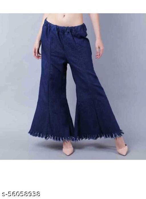 Women stylish formal denim plazzo pack of 1