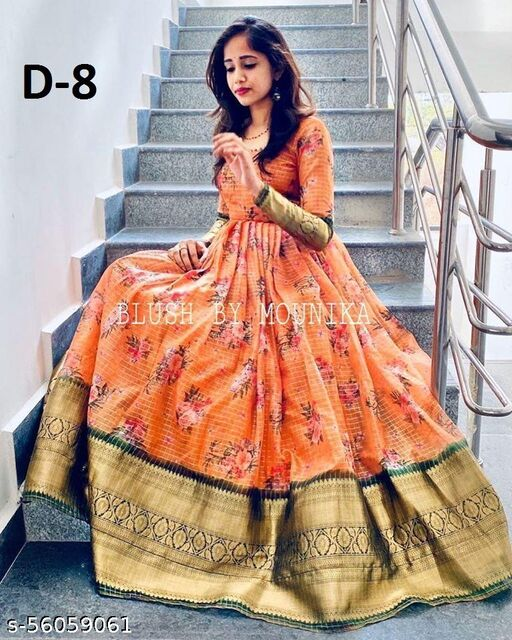 Exclusive nack pattern Orange colored  Georgette with Jacquard fabric Ready made Gown With soft net pearl work