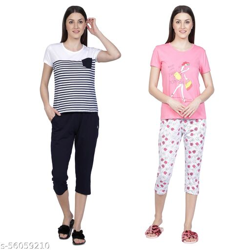 Women Top and Capri Set, Night Dress, Loungewear, Nightsuit (PACK OF 2)
