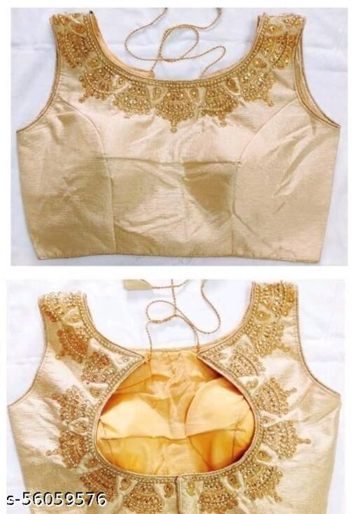 Fashion Fort Designer Silk Gold Color Embroidery Ready made Blouse Piece
