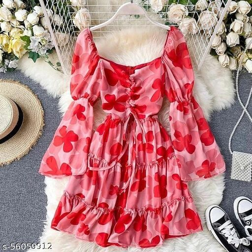 Graceful Pink Colored Casual Wear Vatless Mill Print Havey Crap Ton