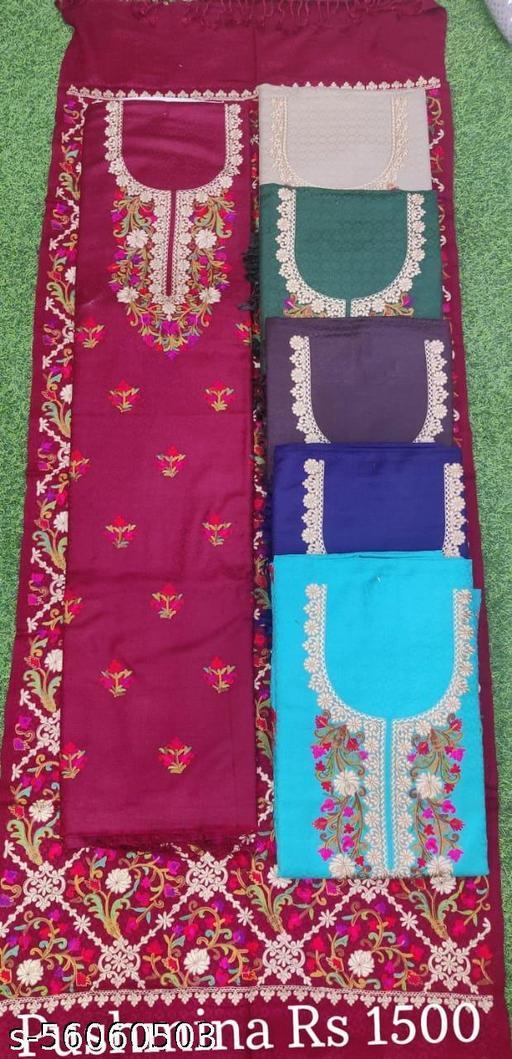 Designer Red Color Pashmina Suit with Florial work stole (Pcs - 6 )