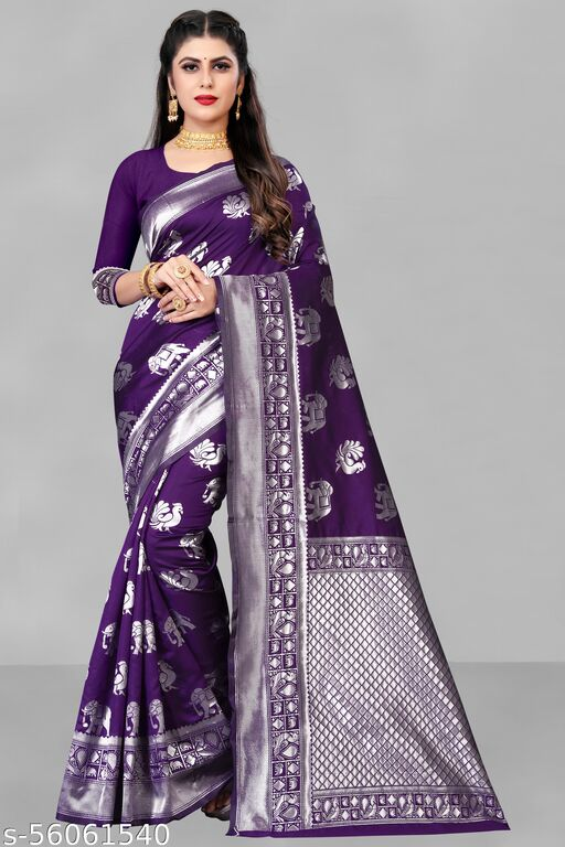 new letest trending desing jacquard saree for party