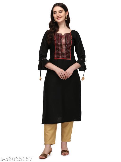 Saadhvi Women's Black Cotton Embroidery Straight Stitched Kurta