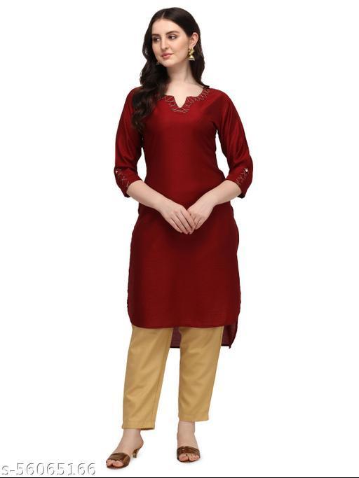 Saadhvi Women's Red Rayon jacquard Asymmetric Stitched Kurta