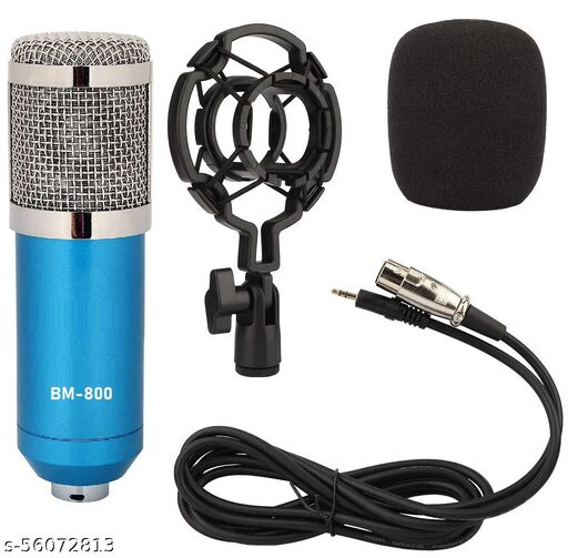 Techtest Bm800 Condenser Microphone for Recording with Shock Mount Cardioid Condenser Microphone for Pc Xlr to 3.5mm Studio Mic (Blue)