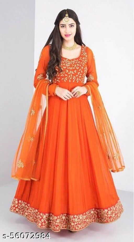 EXCLUSIVE TRENDY LOOK ORANGE COLORED EMBRODIRED GOWN WITH DUPATTA
