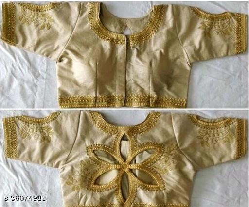 Amrutam Fashion Designer Studio Silk Cream Color Embroidery Ready made Blouse Piece