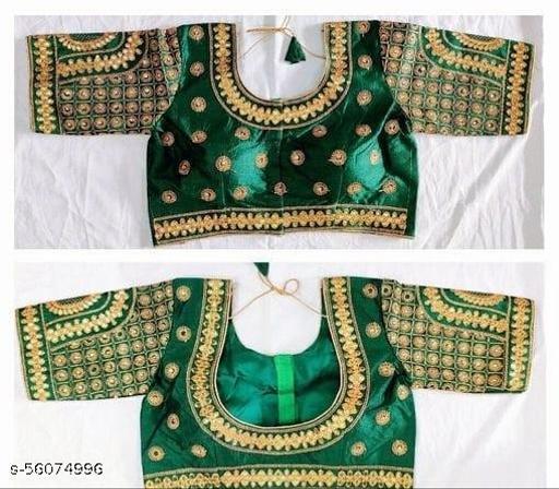 Amrutam Fashion Designer Studio Silk Green Color Embroidery Ready made Blouse Piece