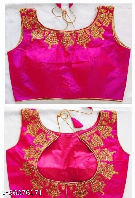 Angel Fashion Studio Silk Pink Color Embroidery Ready made Blouse Piece
