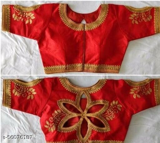 Angel Fashion Studio Silk Red Color Embroidery Ready made Blouse Piece