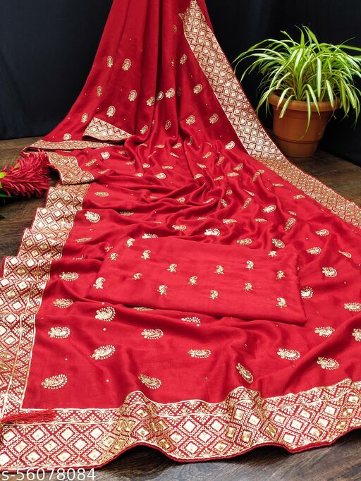 Meesho Present New Beautiful And New Vichitra Silk fabrics Saree With Emnbroidery and Diamond Work Daily And Party Wear Saree For You only in Vichitra Silk Fabrics