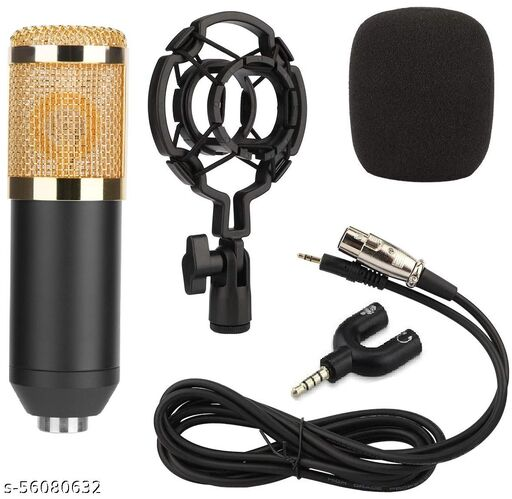 Techtest Microphone for Recording Bm800 with Shock Mount Xlr Cable 3.5mm Jack Splitter Cardioid Condenser Microphone for Pc Studio Mic (Gold)