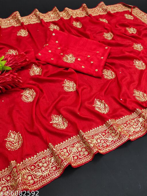 Meesho Present New Beautiful And unbelievable Daily And Party Wear Saree For You only in Vichitra Silk Fabrics