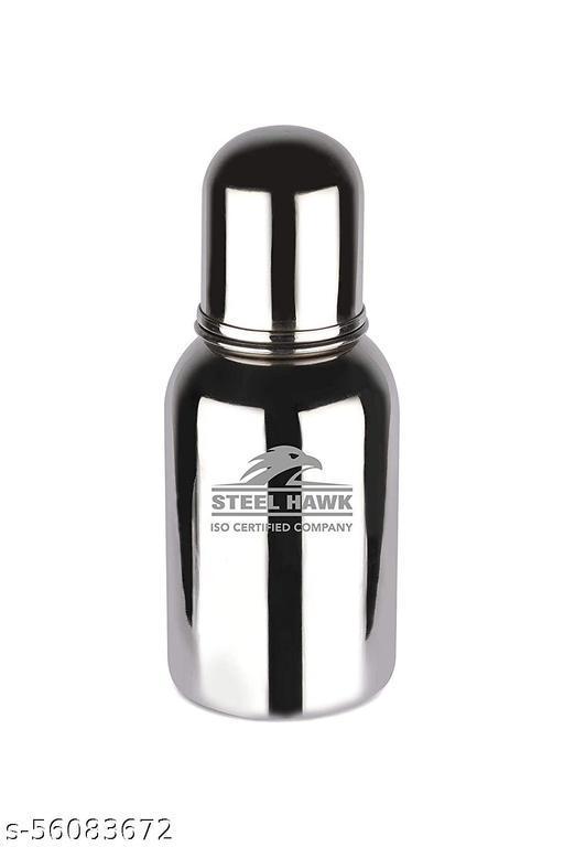Steel Hawk Stainless Steel Feeding Bottle (Flat Model) - 220ml with 2 Nipples (Fast Flow and Medium Flow)