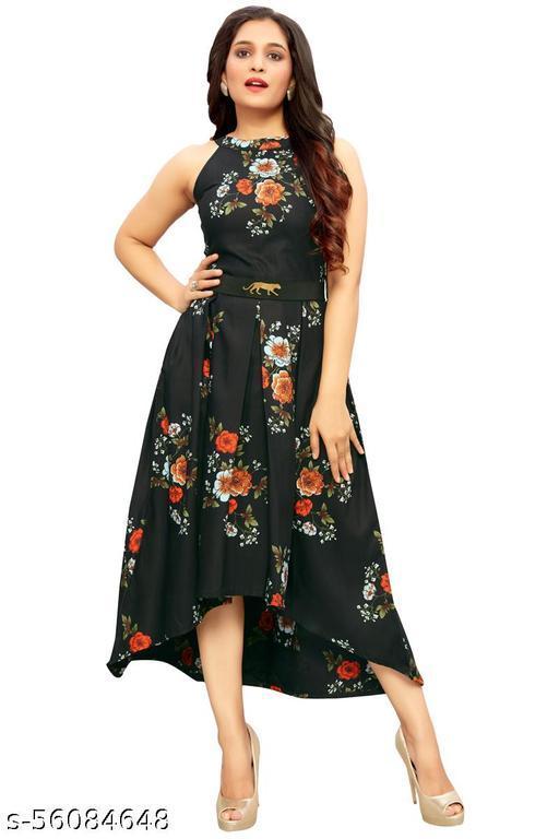 JOY MAKER Women's Fit And Flare Fancy Western cotton Up & Down Dress