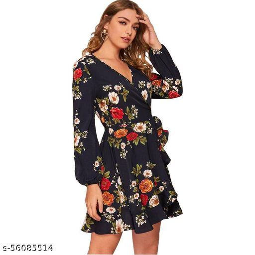JOY MAKWER Women's Fit And flare Fancy Western Cotton Midi Fancy Short Dress
