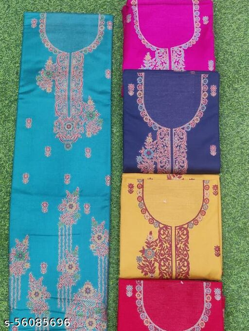 Designer Musted Blue pashmina suit with bottom and stole (Pcs - 5 )