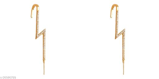 Pair of 2 Gold Plated Zircon Studded Stylish Thunderbolt Ear Cuff for Women & Girls