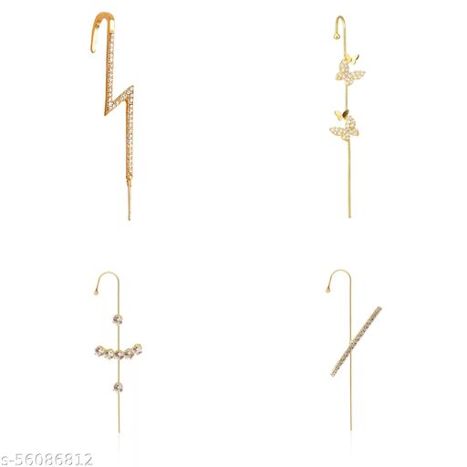 Pack Of 4 Gold Plated Stylish Zircon Studded Cross Thunderbolt and Butterfly Ear Cuff for Women & Girls