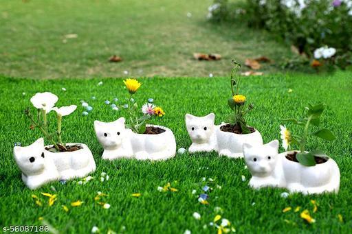 Ceramic planter pot ,Set of 4 Cat pot (Without Plant)