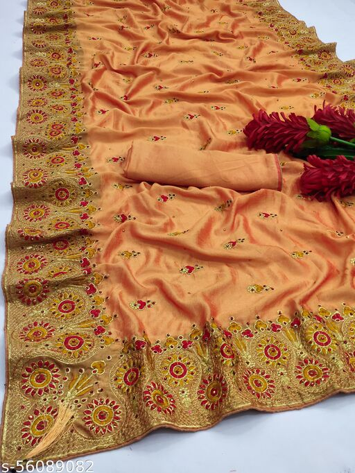 Custom Art Present It has all over embroidery and hand stone work throughout the body and embroidery work is made it For You and with handstone work.. Saree
