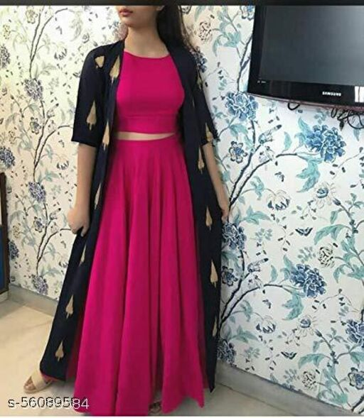 WOMEN CROP TOP WITH SKIRT AND SHURG
