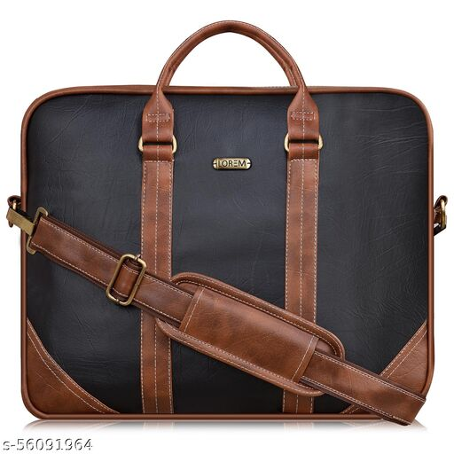 BG43 Black & Tan Color Briefcase Laptop Bag Cross Body Office Business Professional Bag for Men & Women
