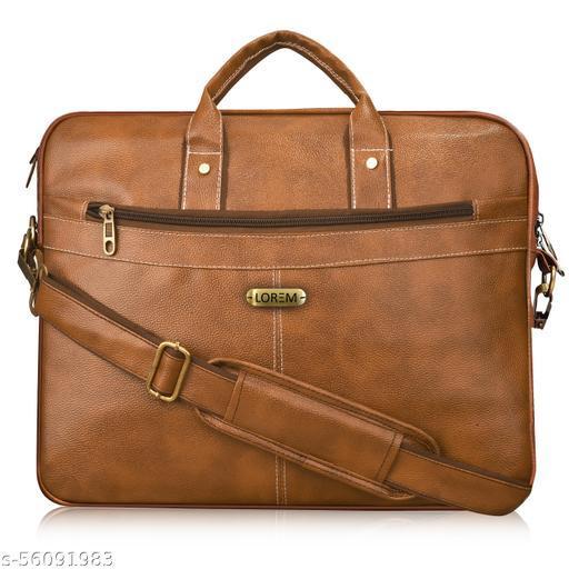 BG15 Tan Color Briefcase Laptop Bag Cross Body Office Business Professional Bag for Men & Women
