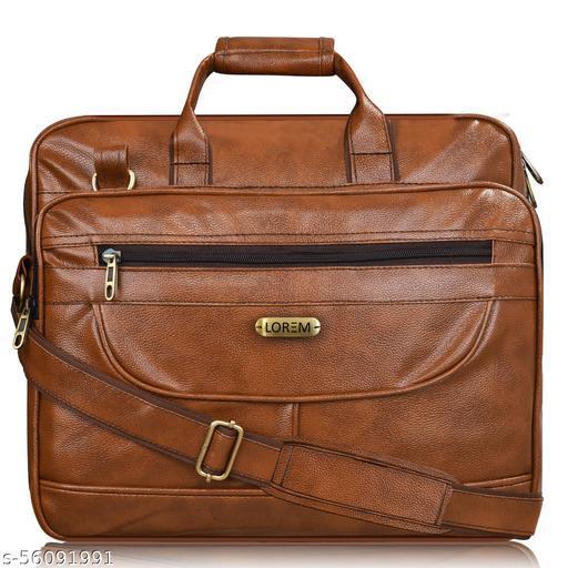 BG07 Tan Color Large-Big Expandable Cross Body Laptop Shoulder+Briefcase Bag for Office-Business Professional Travel