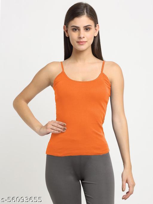 Women Orange Cotton Rib Sleeveless Camisole