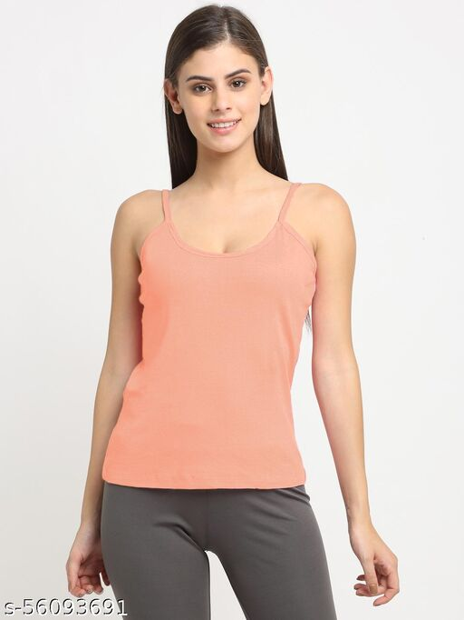 Women Peach Cotton Rib Sleeveless Camisole